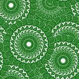 blanco inconsútil del verde de la mandala Imagen de archivo libre de regalías