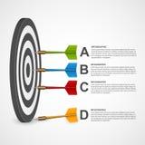 blanco infographic de la plantilla del concepto realista 3d con los dardos stock de ilustración
