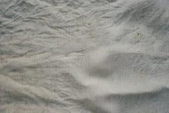Blanco lechoso sucio arrugado lino de la textura de la tela Imagen de archivo
