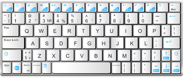 Blanco moderno con el teclado azul del bluetooth del ordenador portátil Fotografía de archivo libre de regalías