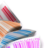 Blanco multicolor de la escritura de la etiqueta de la etiqueta engomada de los códigos de barras Imagen de archivo