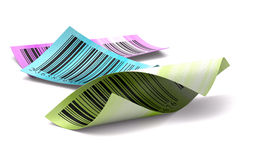 Blanco multicolor de la escritura de la etiqueta de la etiqueta engomada de los códigos de barras Imagen de archivo libre de regalías