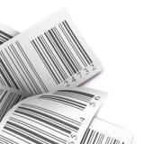 Blanco multicolor de la escritura de la etiqueta de la etiqueta engomada de los códigos de barras Fotos de archivo