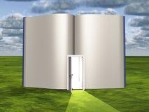 Blanco pagina's van open boek met deuropening vector illustratie