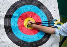 Blanco para el tiro al arco con las flechas Fotografía de archivo