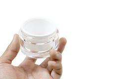 Blanco plástico blanco de la tapa de Matte Glass Doublewall Jar With a disposición Fotos de archivo libres de regalías