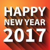 Blanco plano de la Feliz Año Nuevo 2017 en vector anaranjado Imagen de archivo