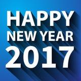 Blanco plano de la Feliz Año Nuevo 2017 en vector azul Imagen de archivo
