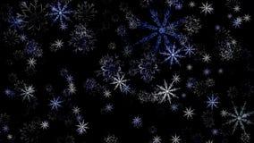 Blanco puro hermoso y copos de nieve azules que caen abajo y hacia arriba en el fondo negro, lazo inconsútil animaci?n ilustración del vector