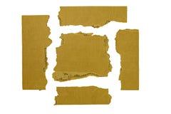 Blanco rasgado esquinas de las tiras de cartulina aislado Imagen de archivo libre de regalías