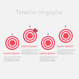Blanco redonda del círculo del paso de Infographic cuatro de la cronología modelo Diseño plano Imagen de archivo libre de regalías