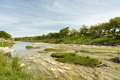 Blanco River Texas. The Blanco River and the natural beauty of the Texas Hill Country in the small town of Wimberley royalty free stock photo