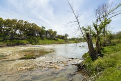 Blanco River Texas. The Blanco River and the natural beauty of the Texas Hill Country in the small town of Wimberley stock image