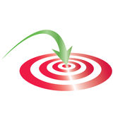 blanco roja con la flecha verde Foto de archivo libre de regalías