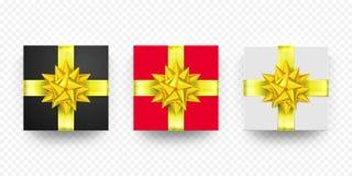 Blanco rojo del presente de la caja de regalo de la Navidad, sistema de oro negro del vector de la cinta Foto de archivo