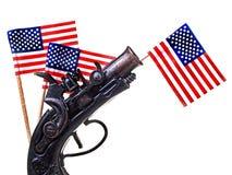 Blanco rojo y Blue Ribbon y arma Imagen de archivo