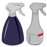 Blanco y botella azul del espray de líquido encendido Foto de archivo libre de regalías