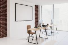 Blanco y esquina de despacho de dirección del ladrillo, cartel ilustración del vector