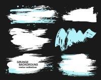 Blanco y movimientos azules en un fondo negro, movimientos del cepillo de la tinta, cepillos, líneas del cepillo Elementos artíst Fotos de archivo libres de regalías