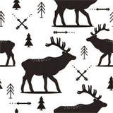 Blanco y negro con el modelo inconsútil con los ciervos, abetos, flechas ilustración del vector