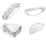 Blanco y negro determinado dibujada mano de los alimentos de preparación rápida Foto de archivo libre de regalías