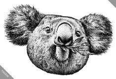 Blanco y negro grabe el ejemplo aislado del vector de la koala Fotografía de archivo libre de regalías