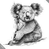 Blanco y negro grabe el ejemplo aislado del vector de la koala Imagen de archivo