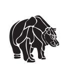 Blanco y negro grabe el oso aislado del vector Fotos de archivo