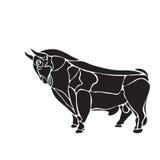 Blanco y negro grabe el toro aislado Foto de archivo libre de regalías
