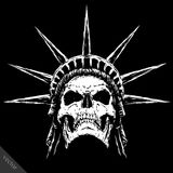 Blanco y negro grabe la cara malvada del cráneo del vector Fotografía de archivo libre de regalías