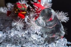 Blanco y negro, horoscop del lomo, 2018 Años Nuevos del perro, perro de cristal Fotografía de archivo