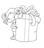 Blanco y negro - niño con el regalo Imagen de archivo