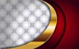 Blanco y rojo lujosos con la l?nea de oro fondo ilustración del vector