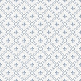 Blanco y tela Backgro de Pale Blue Fleur-De-Lis Pattern Textured Imagenes de archivo
