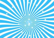 Blanco y tiras azules del remolino con el clipart chispeante de las estrellas, el papel pintado abstracto de la textura, la bande Fotografía de archivo