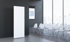 Blancos en blanco ruedan para arriba al lado de sala de reunión en la oficina moderna, representación 3d imagen de archivo libre de regalías