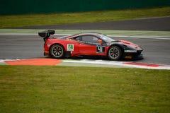 Blancpain GT serie Ferrari 458 Italia som springer på Monza Arkivbild