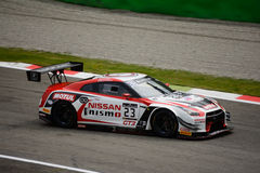 Blancpain GT Series Nissan GT-R Nismo racing at Monza. Nissan GT Academy Team RJN faces the first race of the 2016 Blancpain GT Series Endurance Cup Stock Images