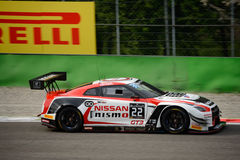 Blancpain GT Series Nissan GT-R Nismo racing at Monza. Nissan GT Academy Team RJN faces the first race of the 2016 Blancpain GT Series Endurance Cup Royalty Free Stock Images