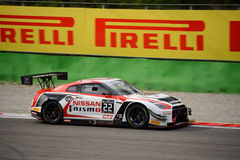 Blancpain GT Series Nissan GT-R Nismo racing at Monza. Nissan GT Academy Team RJN faces the first race of the 2016 Blancpain GT Series Endurance Cup Royalty Free Stock Photo