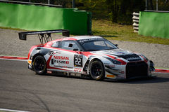 Blancpain-Reihe Nissan GT-R 2015 Nismo GT3 in Monza Lizenzfreies Stockfoto