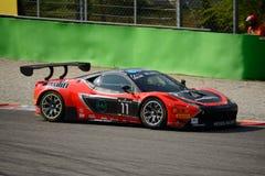 Blancpain serie Ferrari 2015 458 Italia GT3 på Monza Arkivbilder
