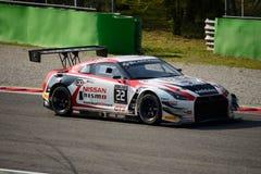 Blancpain serie Nissan GT-R 2015 Nismo GT3 på Monza Royaltyfri Foto