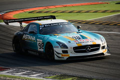 Blancpain Series 2015 Mercedes SLS AMG at Monza. Mercedes SLS AMG GT3 at the first chicane of Monza, Blancpain Endurance Series 2015 Stock Images