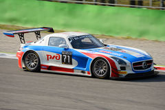 Blancpain Series 2015 Mercedes SLS AMG at Monza. Mercedes SLS AMG GT3 at the Roggia chicane of Monza, Blancpain Endurance Series 2015 at Monza Royalty Free Stock Image