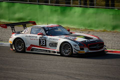 Blancpain Series 2015  Mercedes SLS AMG at Monza. Mercedes SLS AMG GT3 at the Roggia chicane of Monza, Blancpain Endurance Series 2015 Royalty Free Stock Images