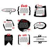 Blancs de citation avec la bulle des textes avec des virgules Ensemble de vecteur de templat illustration de vecteur