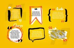 Blancs de citation avec la bulle des textes avec des virgules Ensemble de vecteur de templat illustration stock