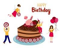 bland annat vektor för födelsedagcakeeps stock illustrationer