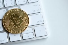 Bland högar av guld- och silverbitcoin- och blockchainknutpunkter lite varstans Blockchain överför faktiskt cryptocurrencybegrepp Arkivfoton